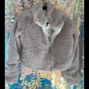 🦄NWT FLEECE FUZZY TEDDY COZY ZIP UP IN LILAC🦄